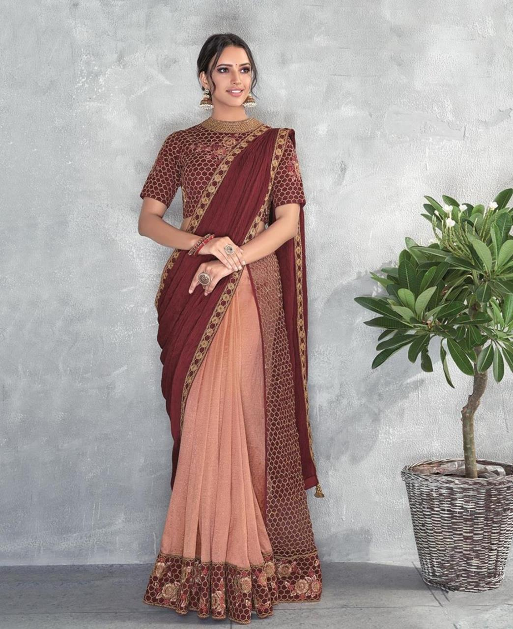 Thread Work Silk Saree (Sari) in Maroon