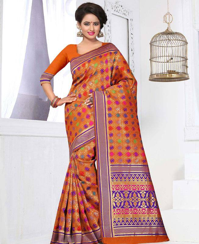Thread Work Banarasi Silk Saree (Sari) in Orange