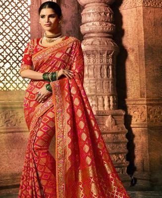 Border Work Silk Saree in Red