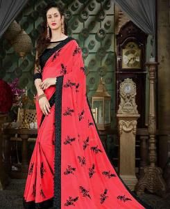Embroidered Georgette Saree (Sari) in Magenta