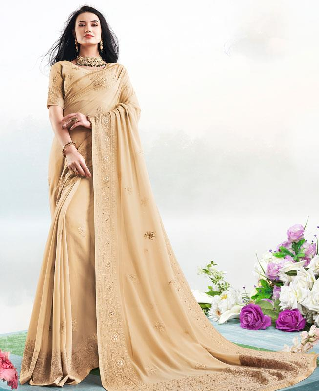 Georgette Saree in Cream