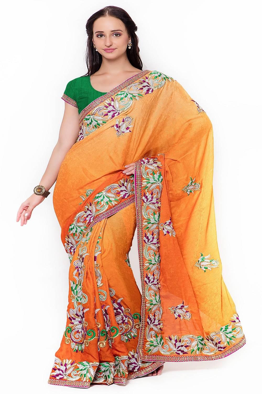 Embellishments Jacquard Saree (Sari) in Orange