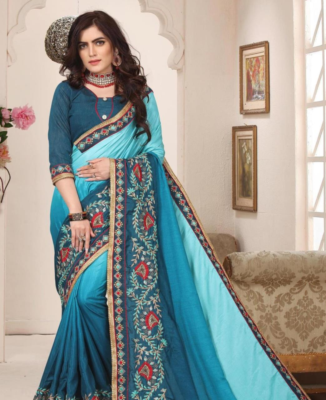 Border Work Silk Saree (Sari) in Blue