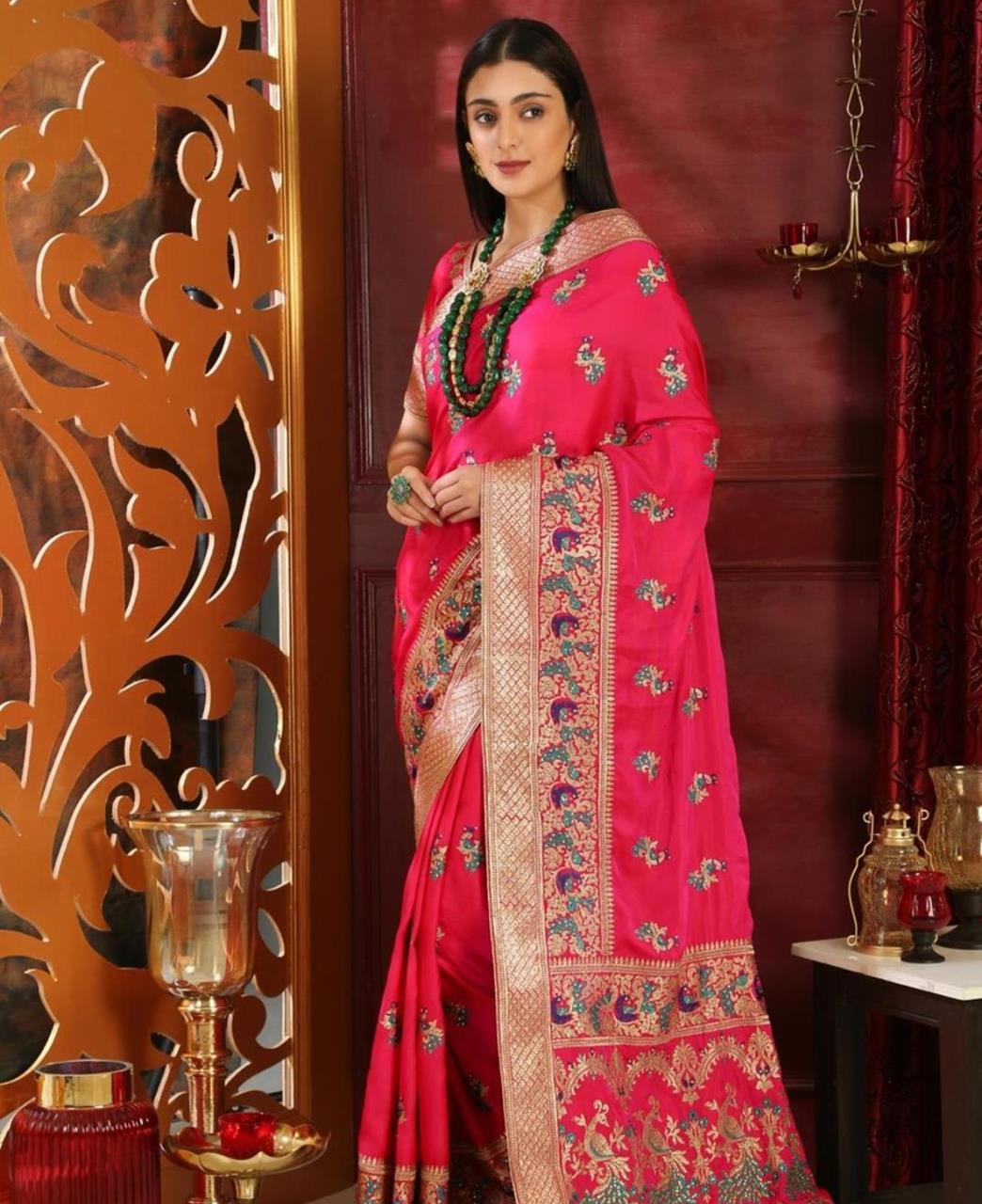 Embroidered Silk Saree (Sari) in Magenta