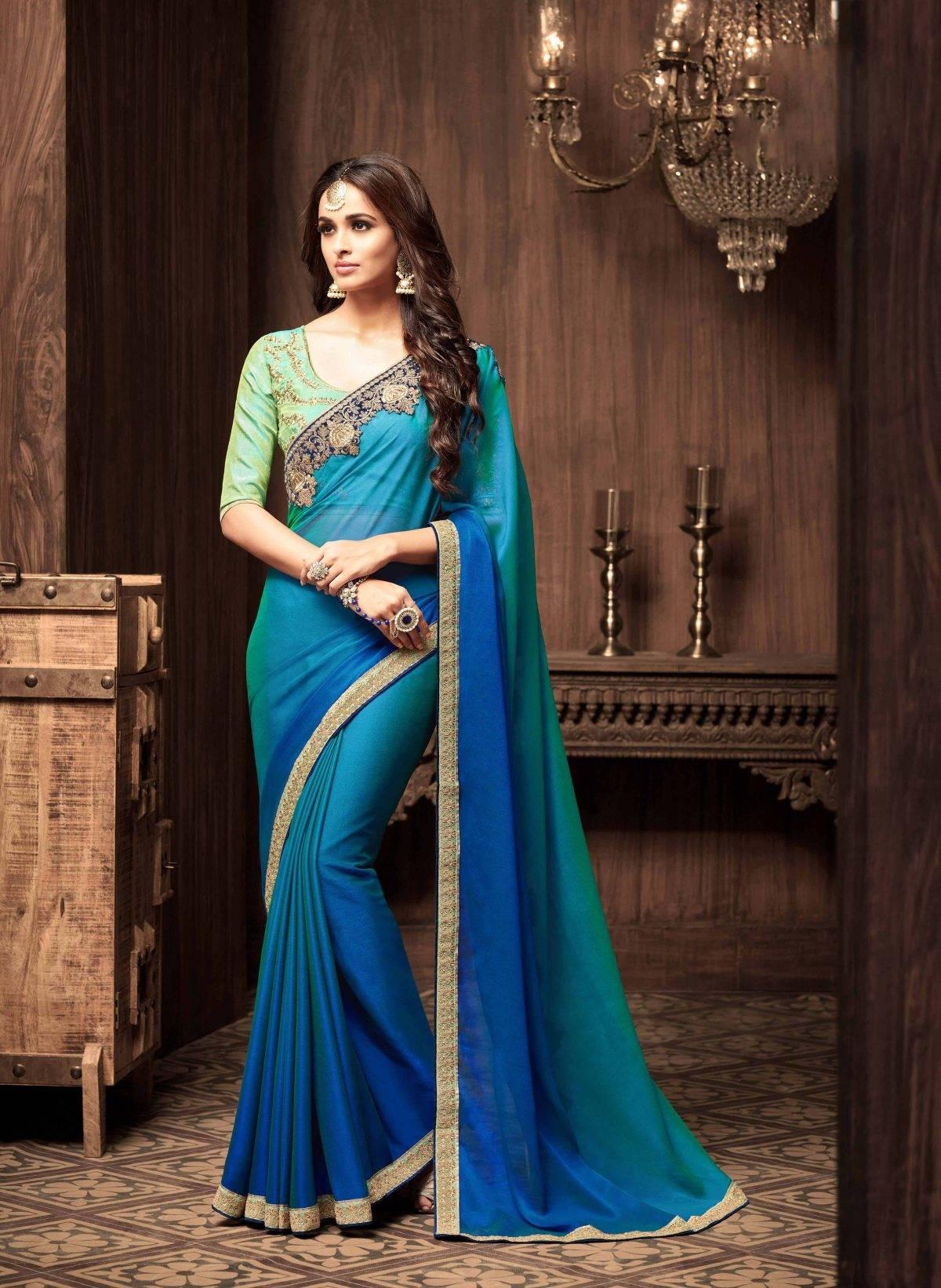 Stone Work Georgette Saree (sari) in Blue