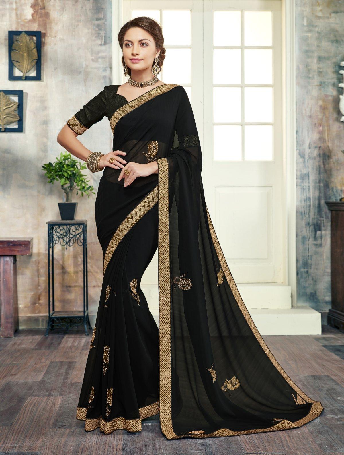 Border Work Georgette Saree (Sari) in Black