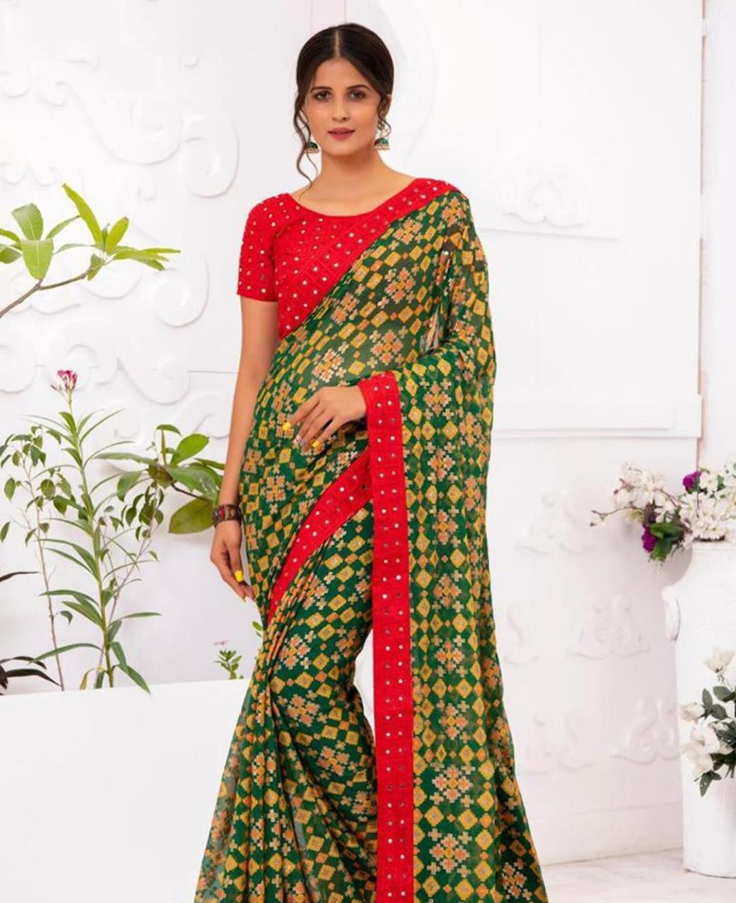 Embroidered Chiffon Saree in Green
