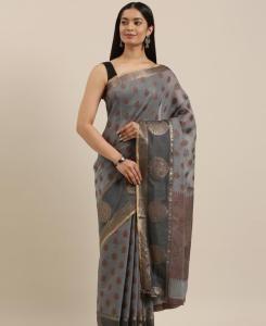 HandWorked Cotton Saree in Grey
