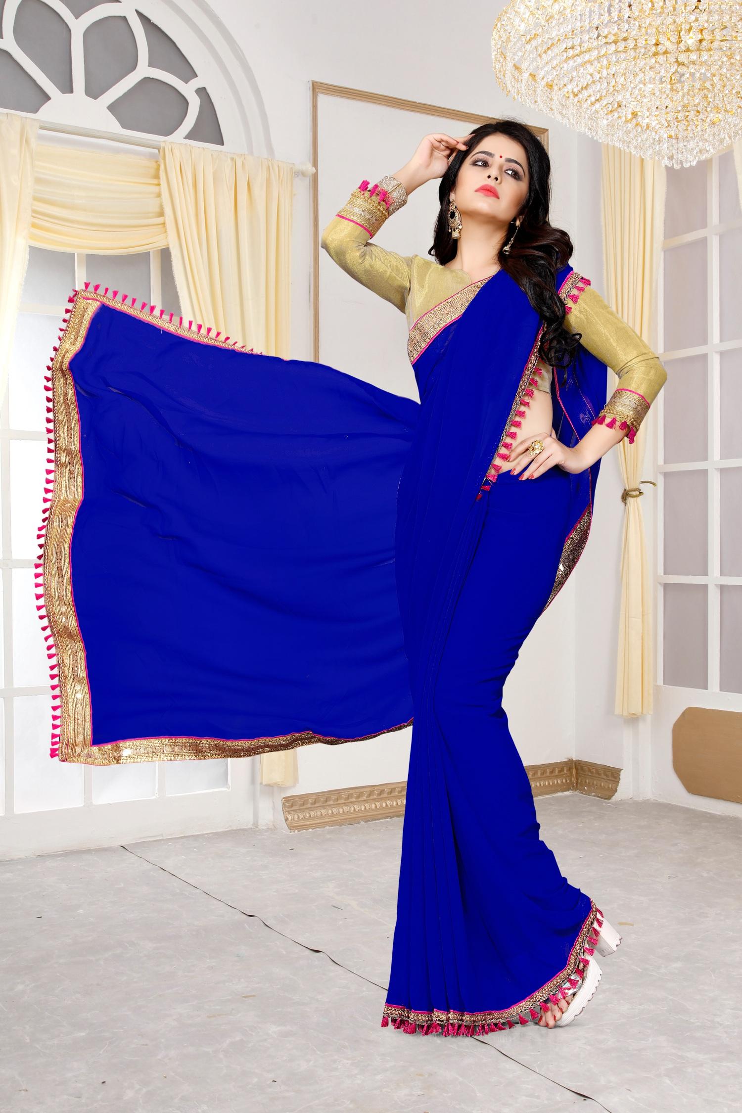 Lace Georgette Saree in Blue