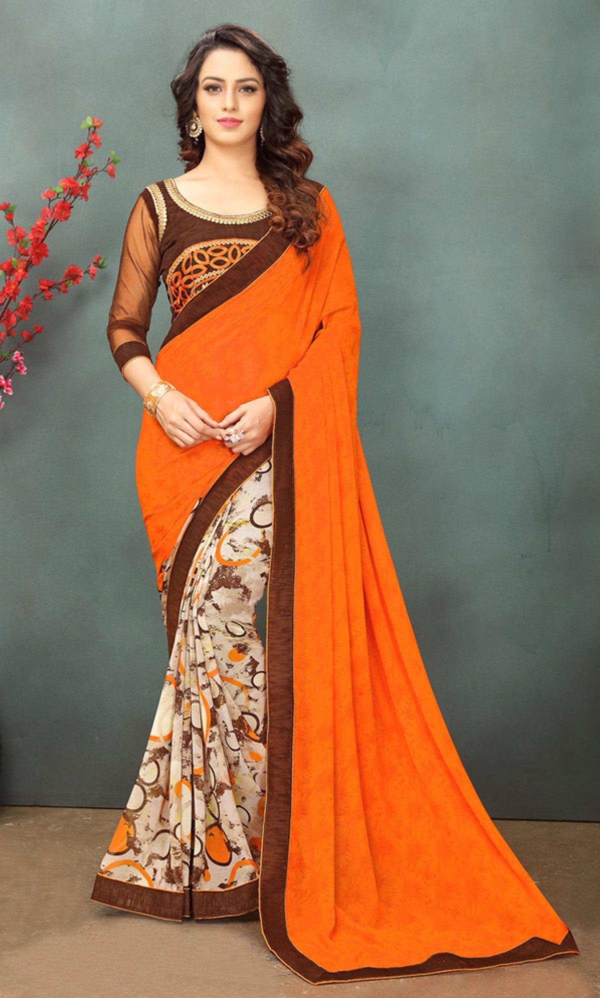 Thread Georgette Saree in Orange