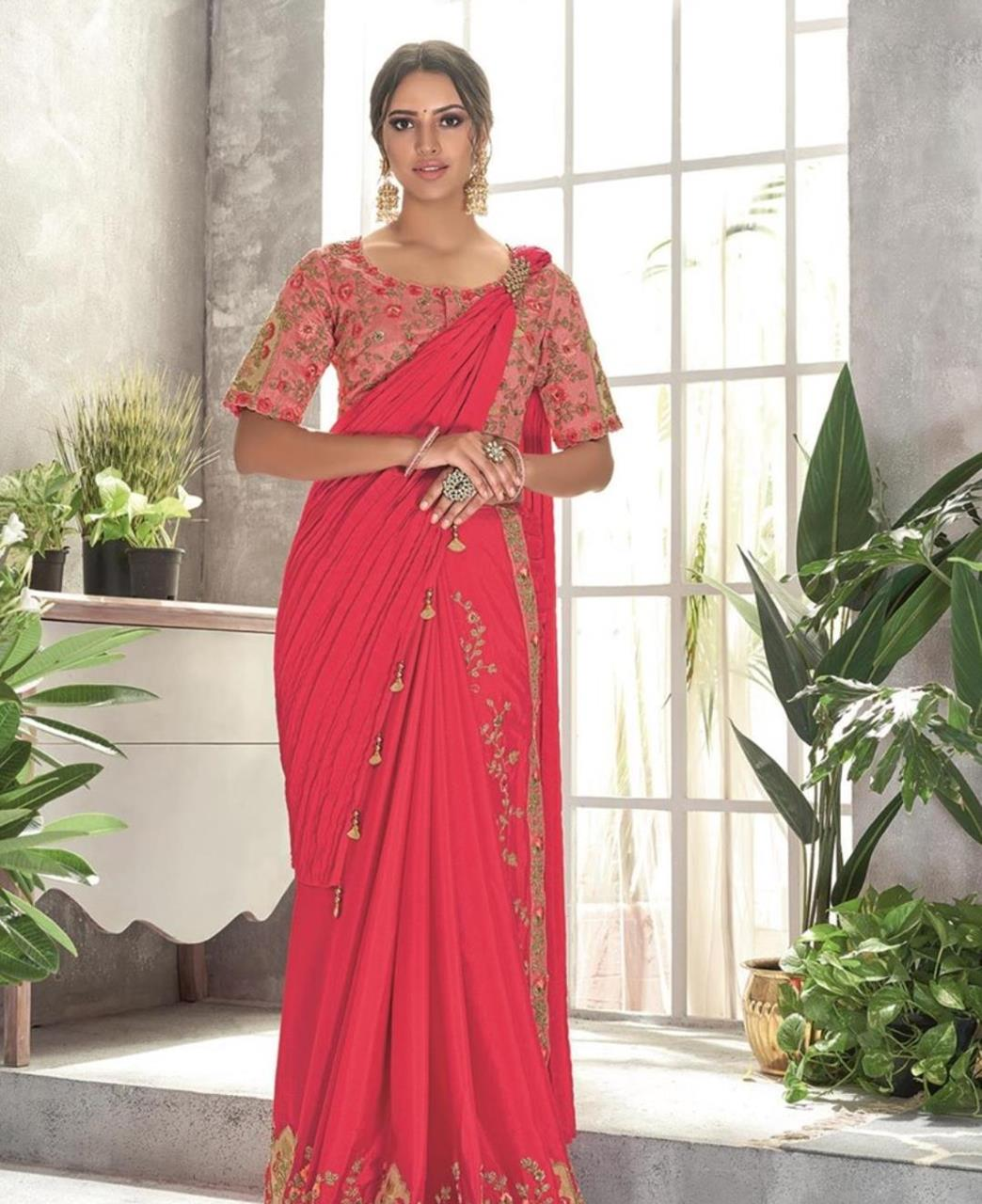 Thread Work Georgette Saree (Sari) in Pink