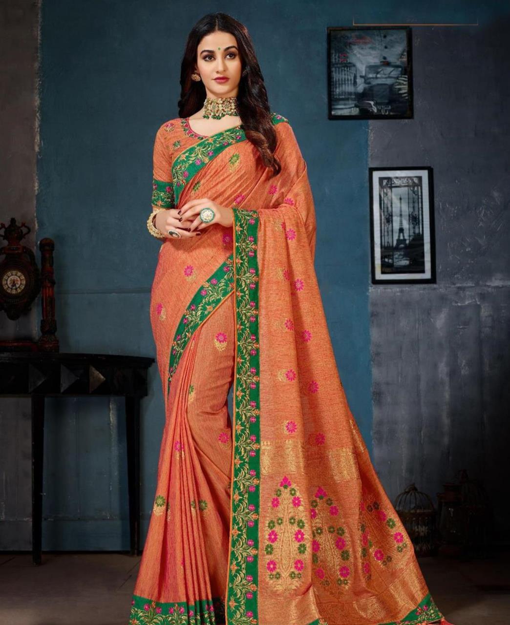Jacquard Cotton Saree (Sari) in Orange