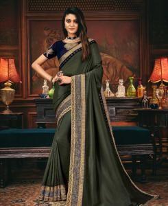 Lace Silk Saree in Steel Green