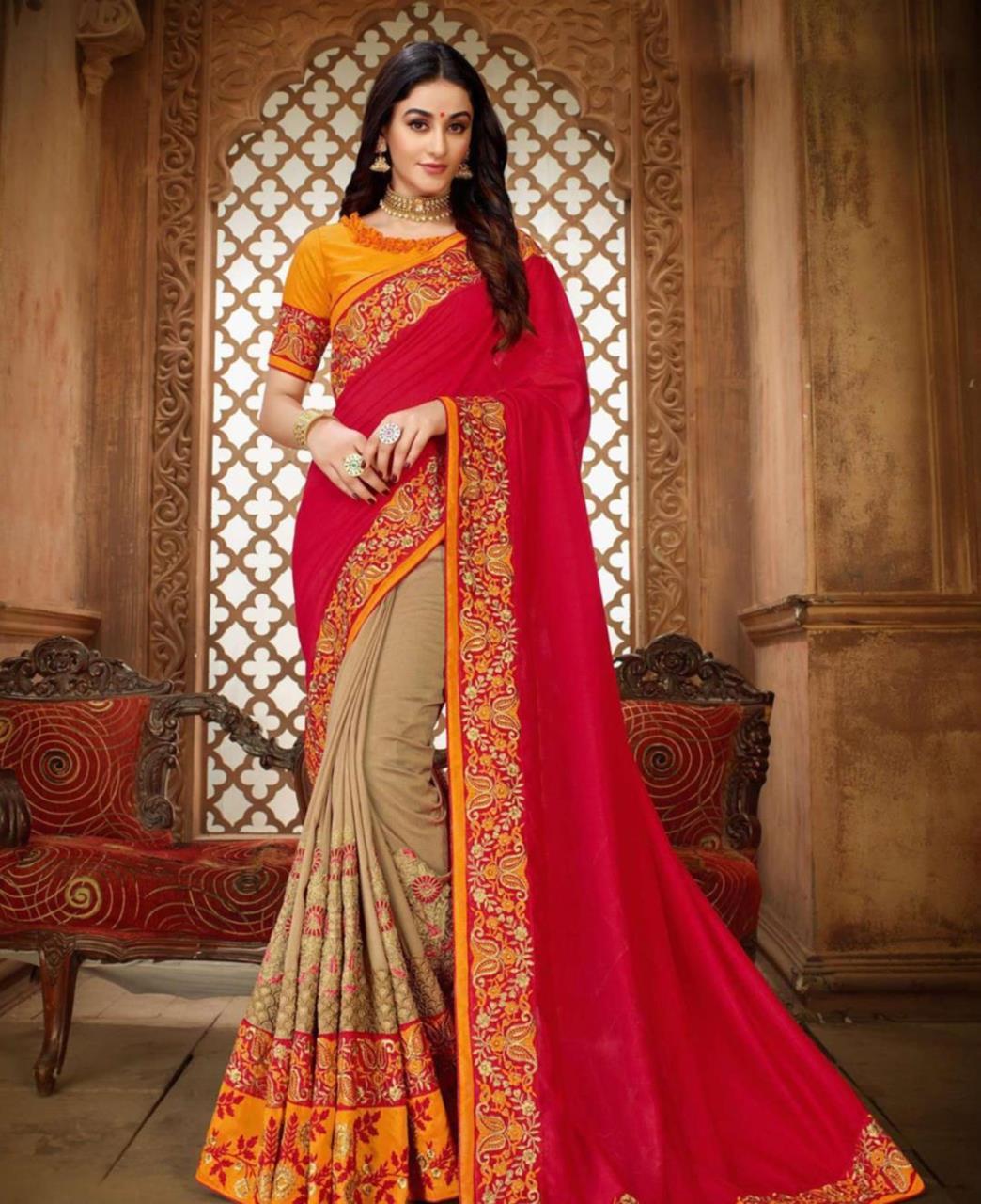 Embroidered Silk Saree (Sari) in Red