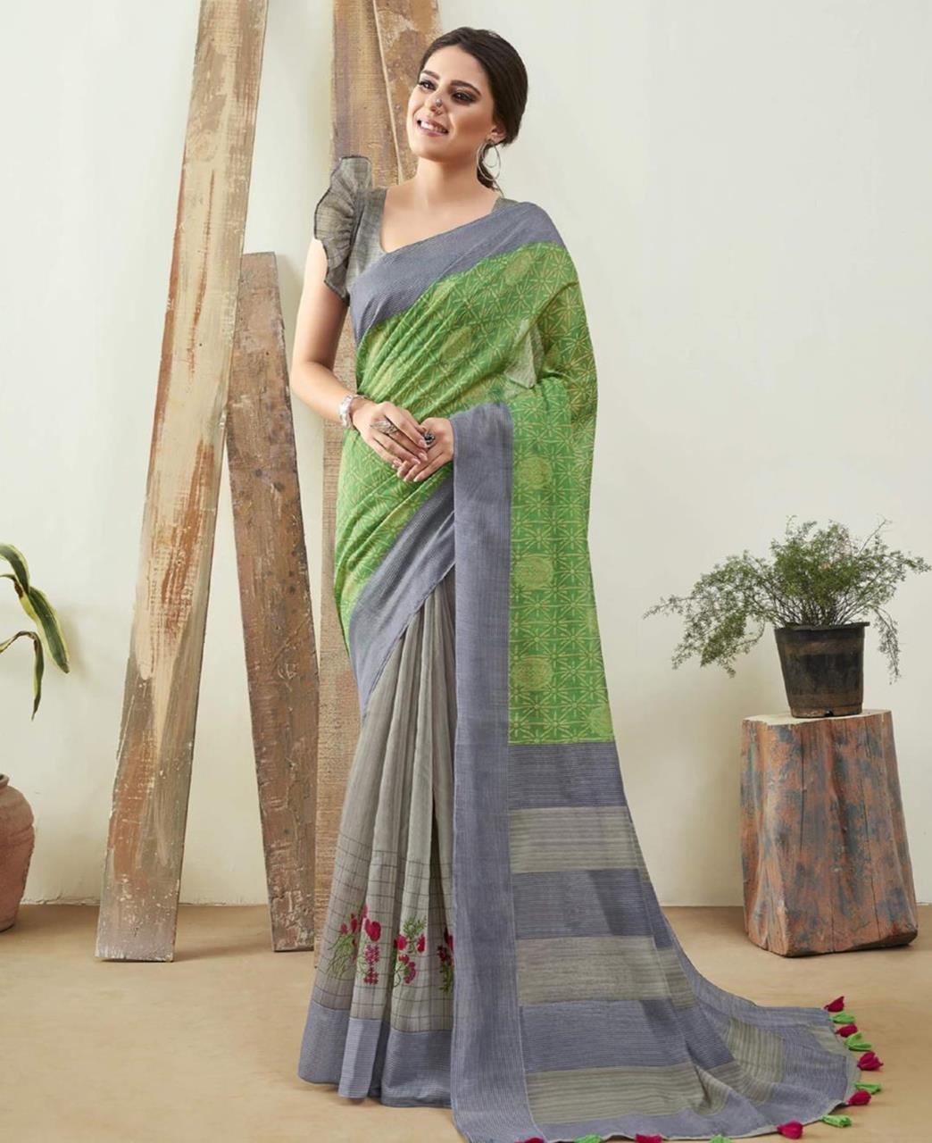 Printed Cotton Saree in Green  ,  Blue