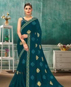Resham Chiffon Saree in Rama