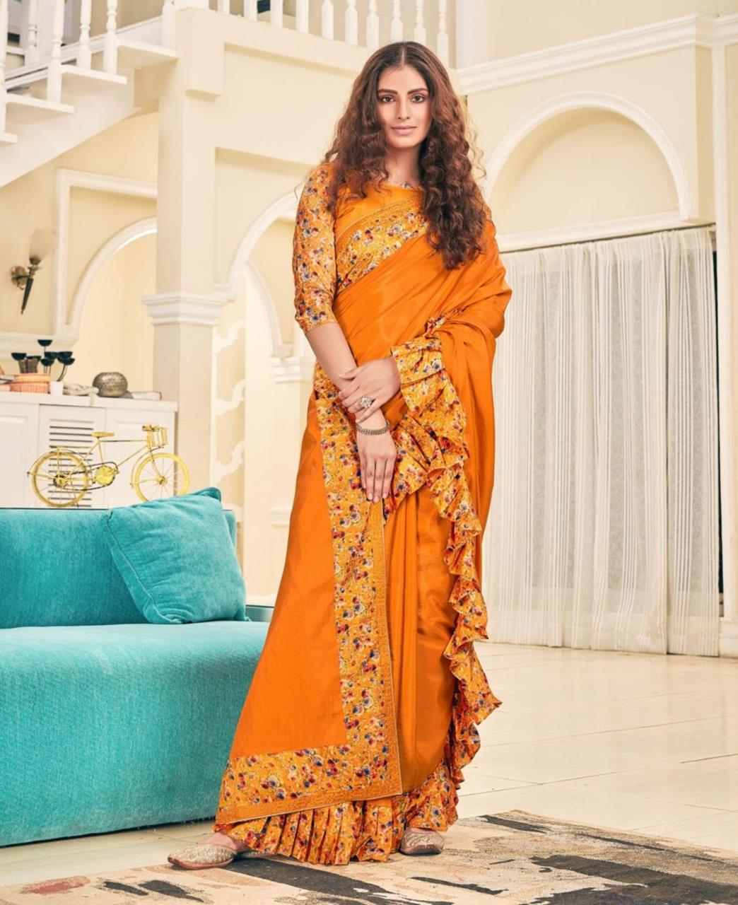 Printed Silk Saree (Sari) in Orange