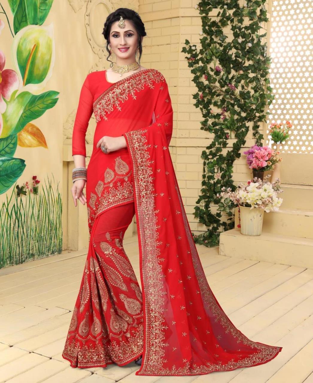 Jari Georgette Saree (Sari) in Red