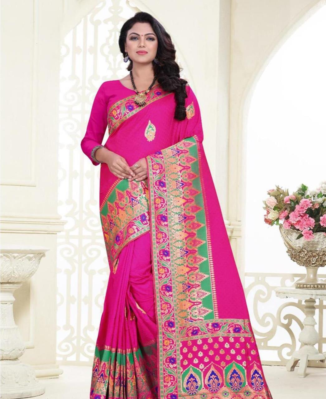 Printed Banarasi Silk Saree (Sari) in Pink