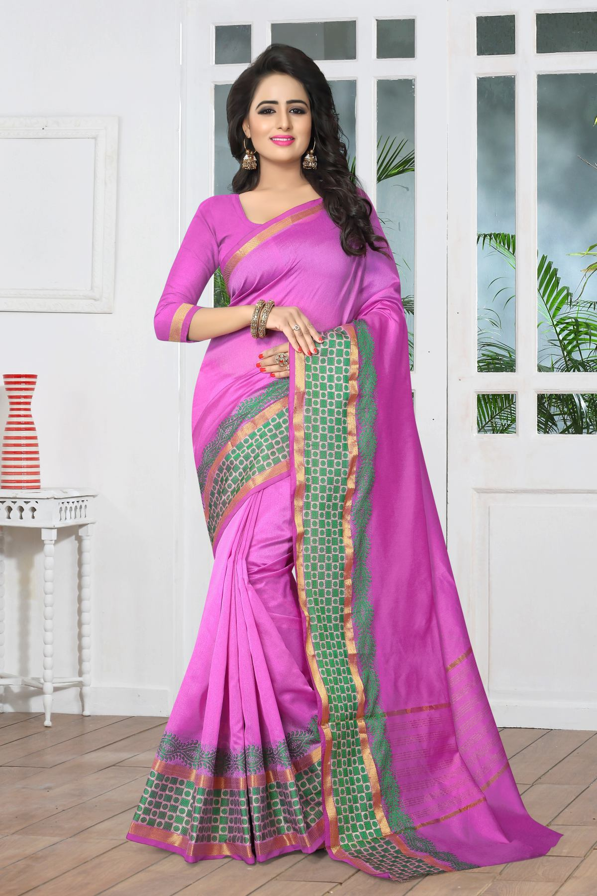Woven Art Silk Saree in Purple