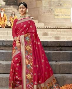 Silk Saree in Rani Pink