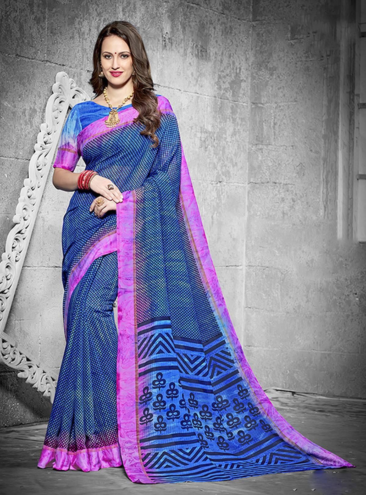 Printed Silk Saree (sari) in Blue