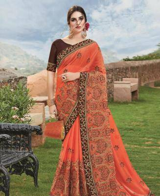 Embroidered Chiffon Saree in Orange