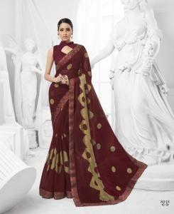 Printed Brasso Saree (Sari) in Maroon