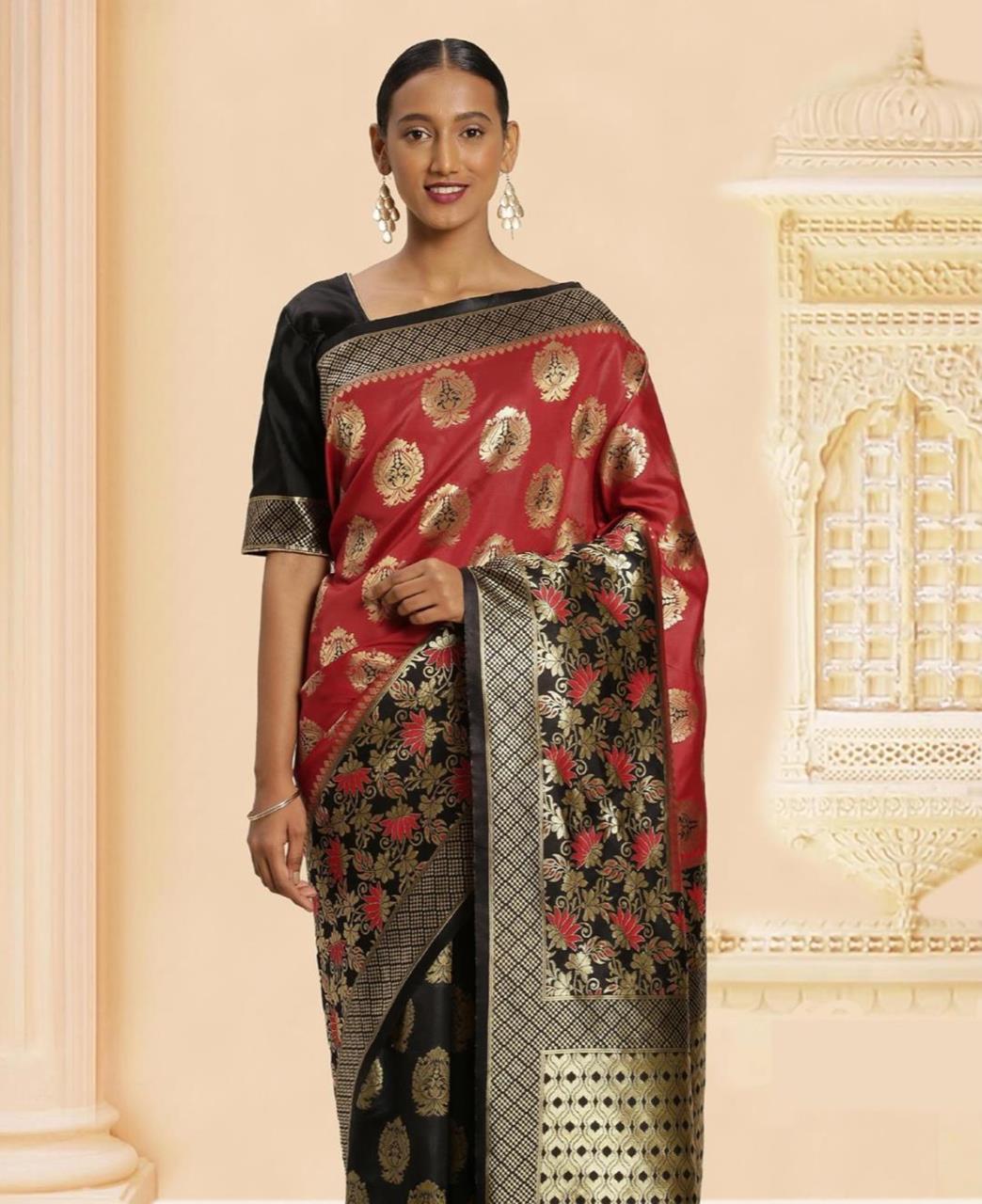 Jacquard Banarasi Silk Saree in Red