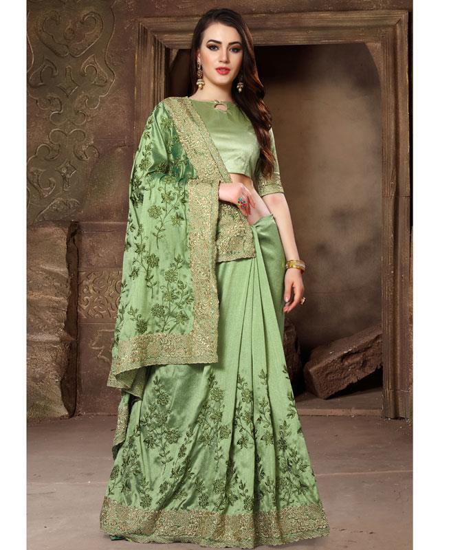 Embroidered Silk Saree (Sari) in SEAGREEN
