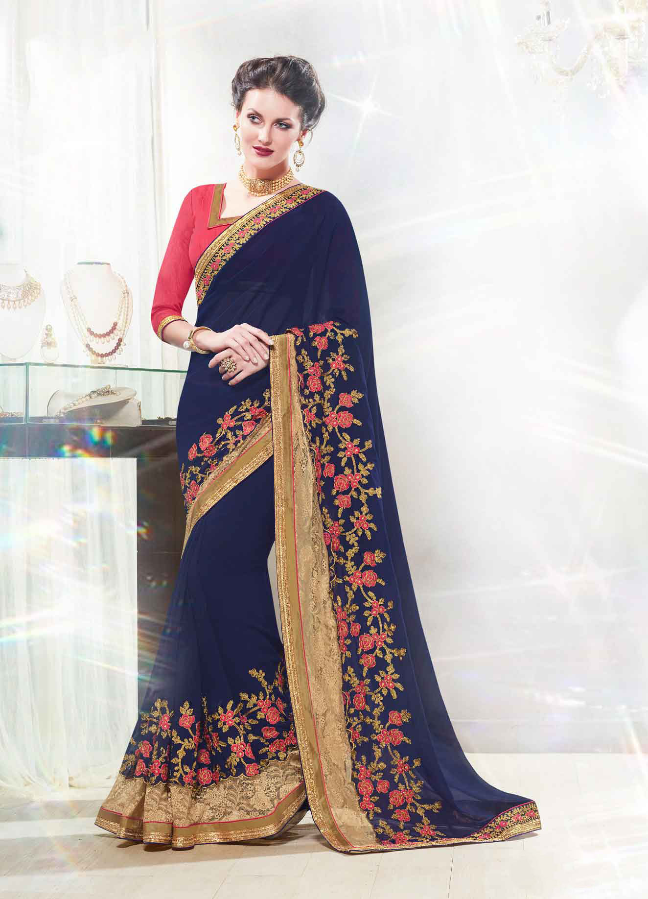 Embroidered Faux Georgette Saree (sari) in Navyblue