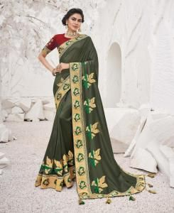 Embroidered Georgette Saree in Mehendi Green