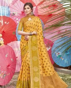 HandWorked Cotton Saree in Yellow