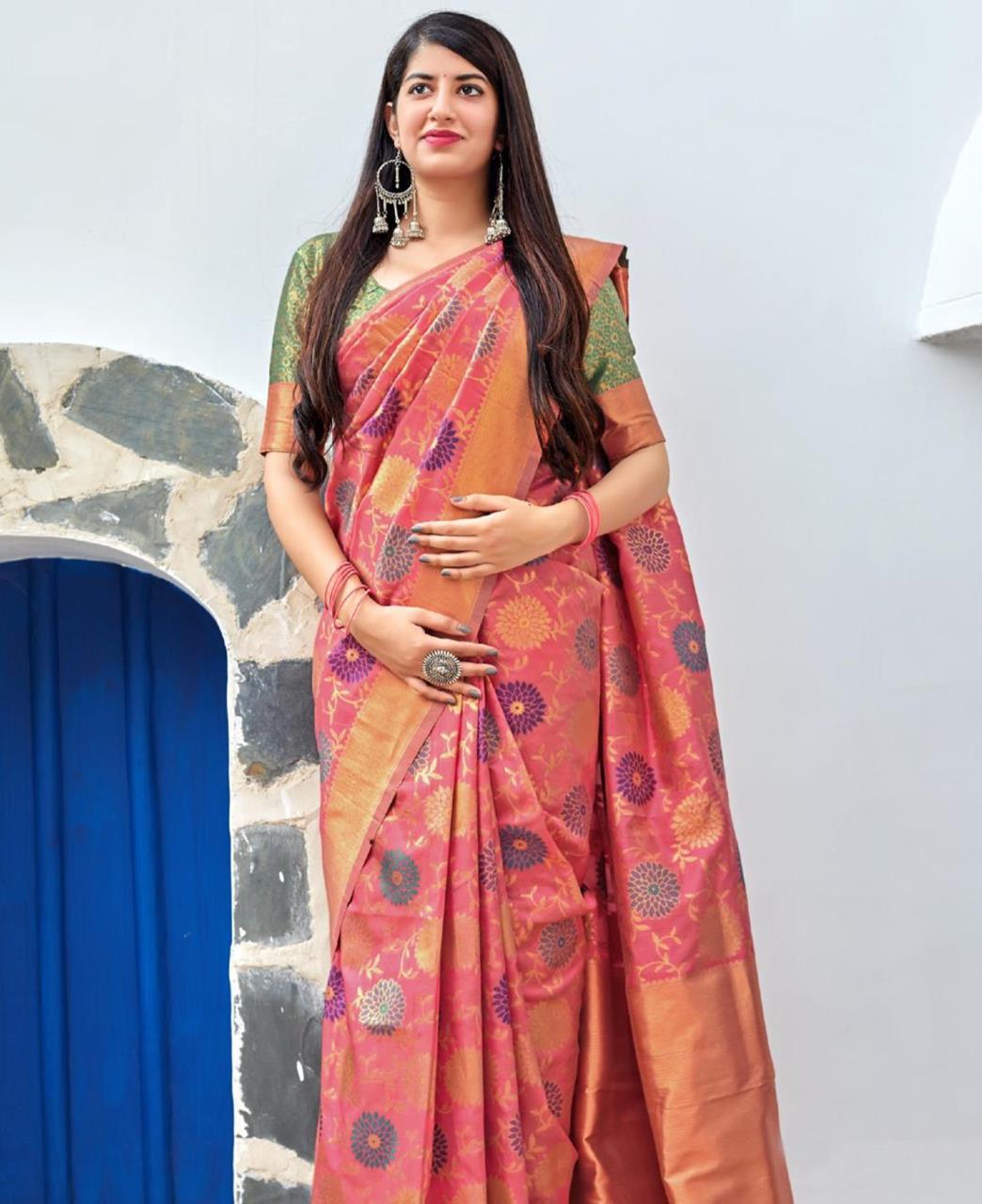 Woven Banarasi Silk Saree (Sari) in  Pink