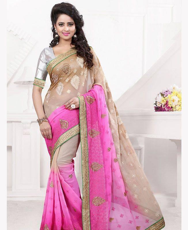 Butta Work Chiffon Saree (Sari) in Pink