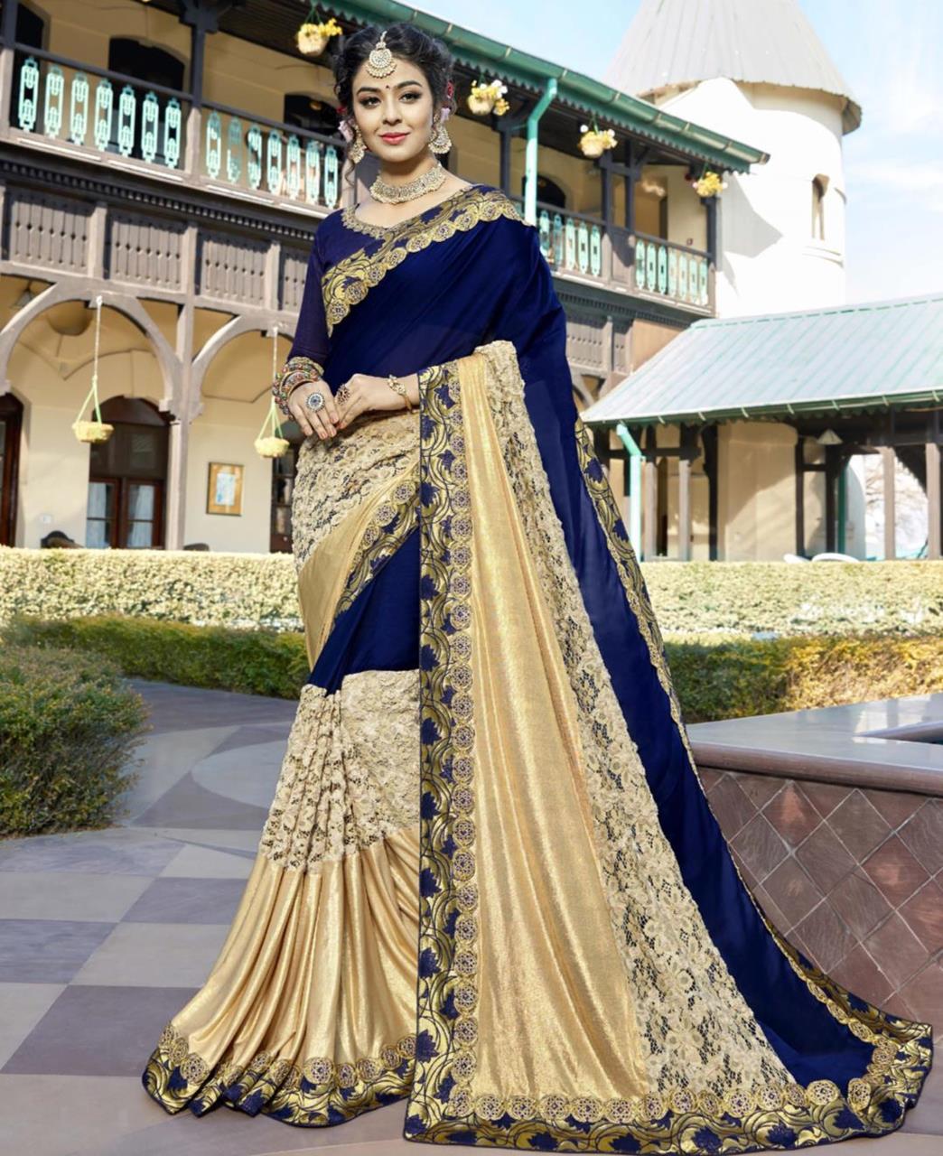 Plain Silk Saree in Blue