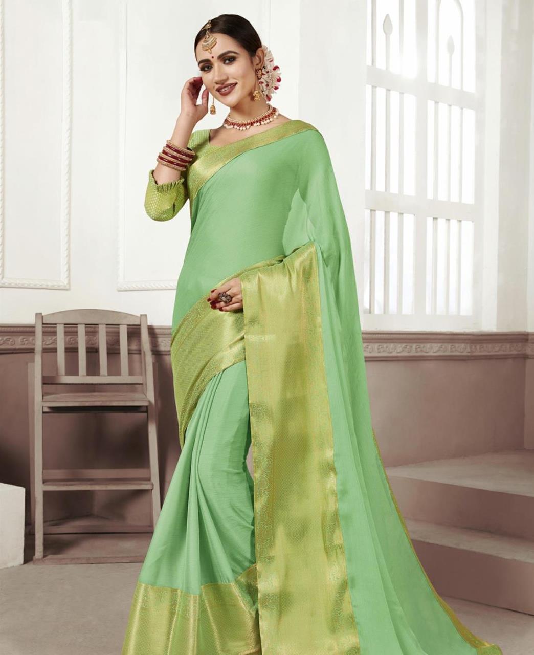 Woven Chiffon Saree (Sari) in MINTCREAM