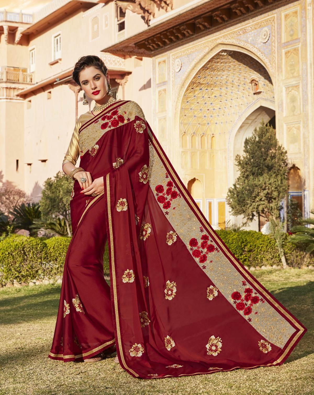 Embroidered Chiffon Saree (Sari) in Maroon