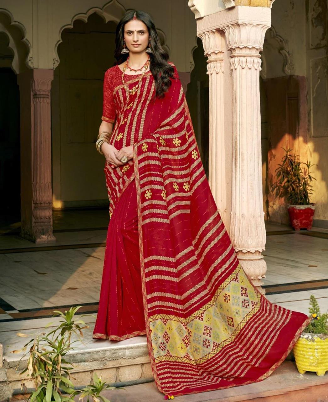 HandWorked Silk Saree in Red