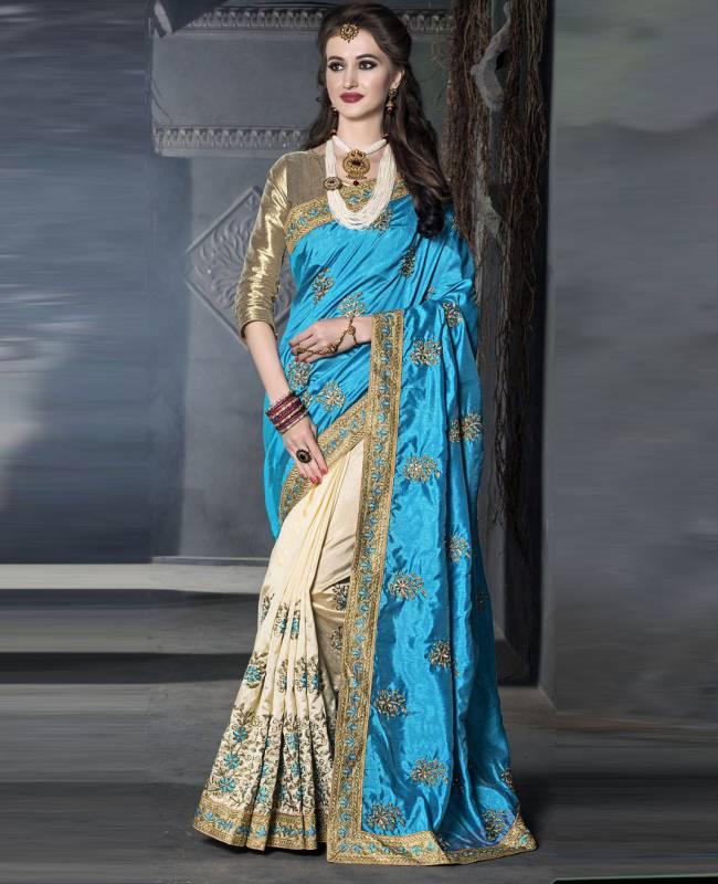 Embroidered Art Silk Saree (Sari) in SkyBlue