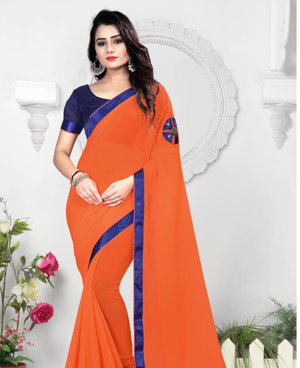 Lace Chiffon Saree (Sari) in Orange