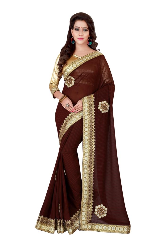 Embroidered Georgette Saree (sari) in Brown