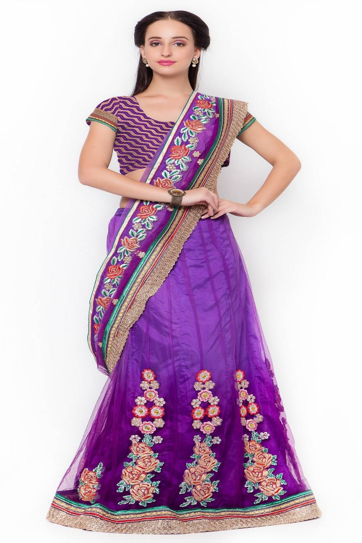Embellishments Net Saree (Sari) in Purple