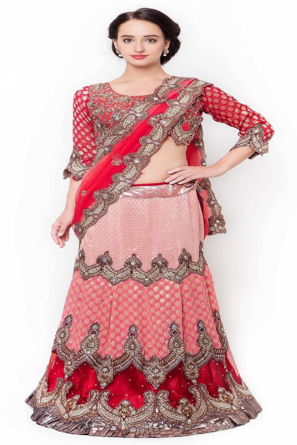 Embellishments Chiffon Saree (Sari) in Red