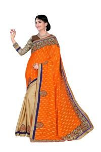 Embroidered Faux Georgette Saree (Sari) in Orange
