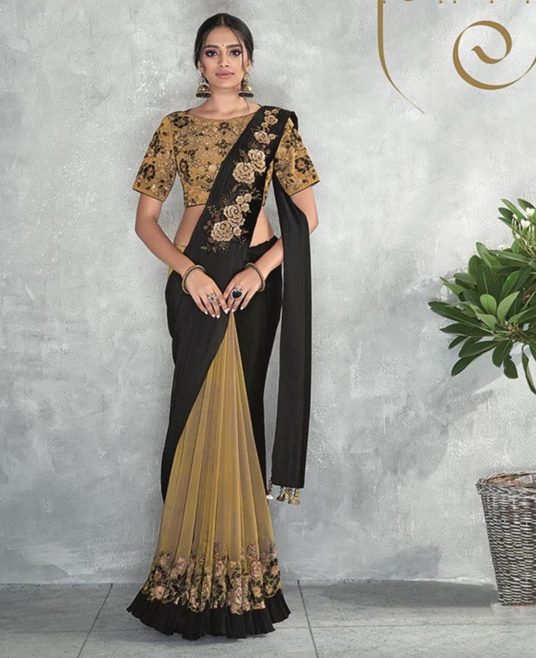 Thread Work Satin Saree (Sari) in Black
