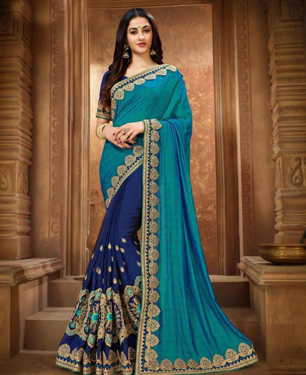Embroidered Silk Saree (Sari) in DARKCYAN