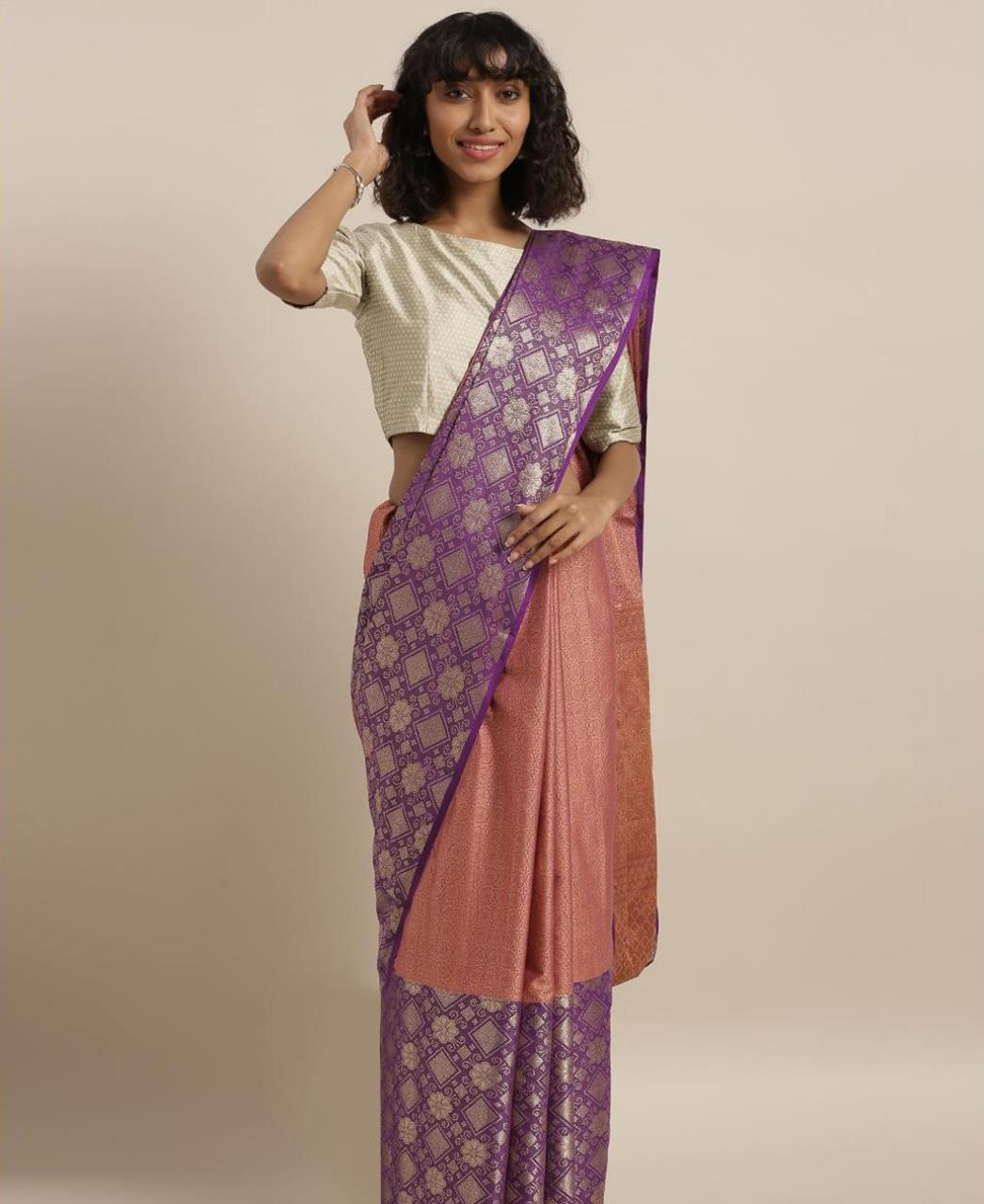 Silk Saree in Coral  ,  Purple