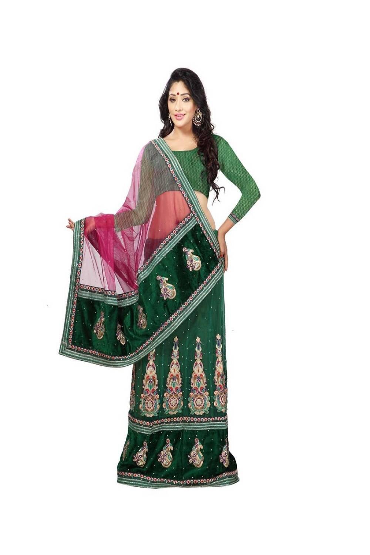 Stone Work Net Saree (Sari) in Green