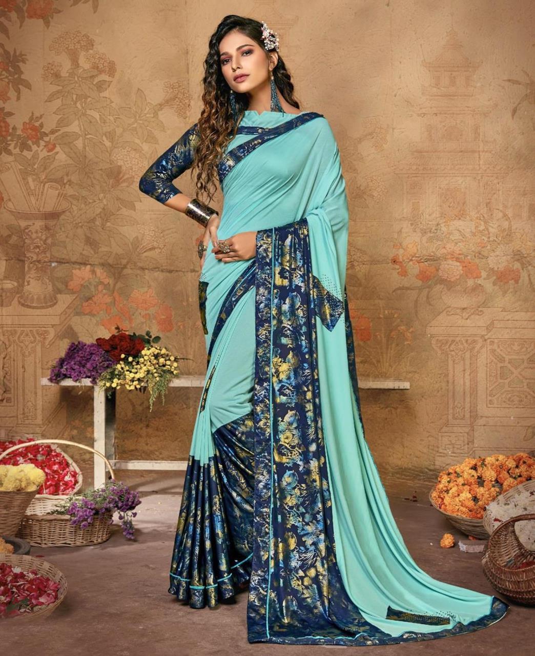 Printed Lycra Saree in Sky Blue